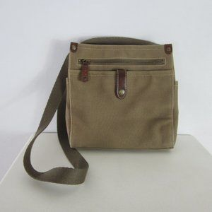 Fossil Taupe Canvas Leather Crossbody Shoulder Bag